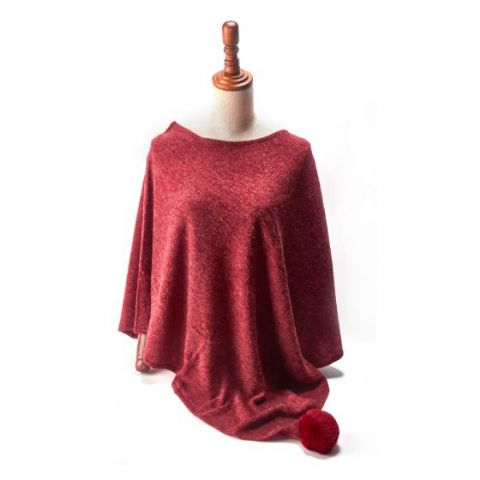 LARGE POM POM PONCHO RED